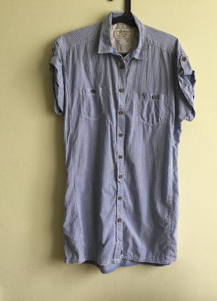 Летнее платье-рубашка короткое в полоску