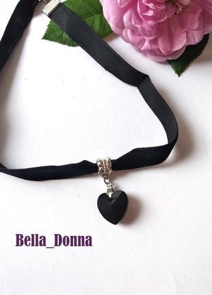 Стильные чокеры сердце (бархатный шнурок, чёрный)
