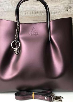 Женская кожаная итальянская сумка марсала
