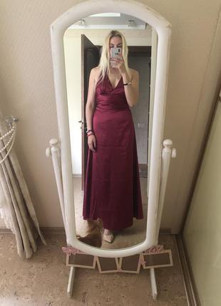 Шикарное вечернее выпускное платье {марсала} винный цвет длинное в пол