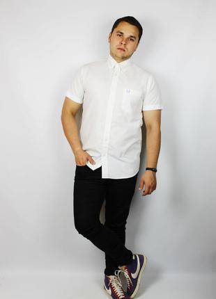 Идеальная белоснежная мужская oxford рубашка с коротким рукавом fred perry