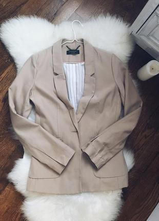 Пиджак бежевый/ жакет / летний пиджак / полосатая подкладка / удлиненный / reserved