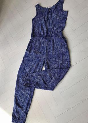 Комбинезон/ летний/синий в белый горошек/спереди на замочке/ размер xs/s3 фото