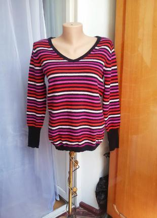 Яркий кашемировый свитер в полоску maddison 100% кашемир