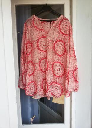 Яркая летняя блуза с шелком marks&spencer / 30% шелк, 70% хлопок