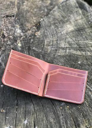 Кожаный кошелёк ручной работы в глянцевой коже (отдел для купюр+карточки+отдел)