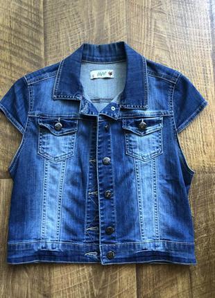 Джинсовка с коротким рукавом, джинсовый пиджак