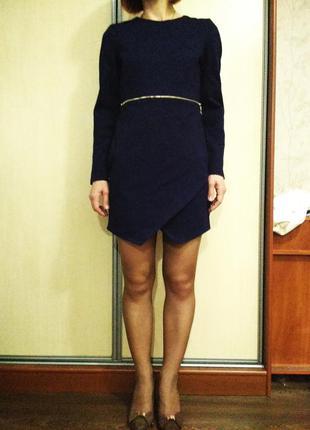 Короткое темно синее платье