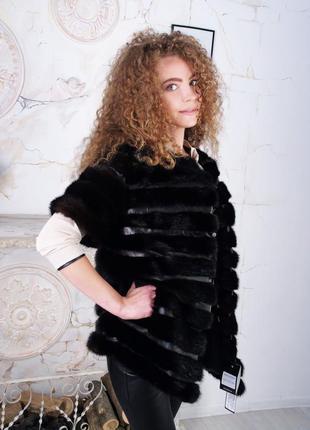 Стильная норковая жилетка поперечка 42 44 размеры новая коллекция