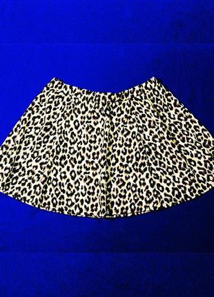 Распродажа! летняя мини юбка от river island новая с этикеткой! / юбка клеш леопард