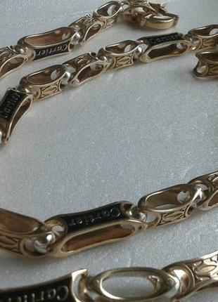 Серебряная цепь cartier с позолотой