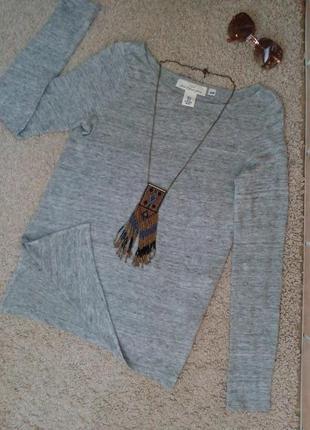 H&m   удлиненная футболка/кофточка с разрезами по бокам 100% лен