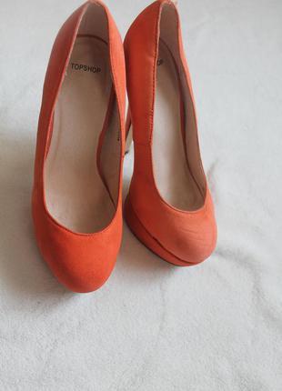 Элегантные коралловые туфли на высоком каблуке от topshop, размер 36 (№44)