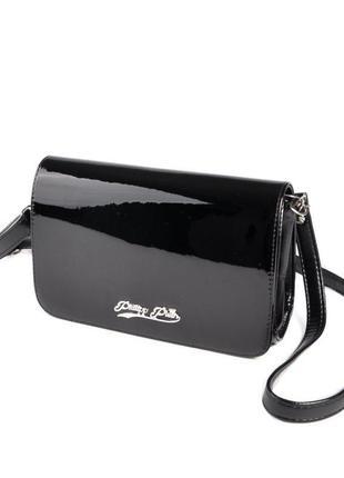 Черная лаковая маленькая сумка клатч через плечо кроссбоди
