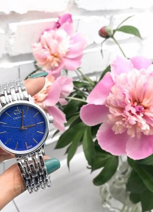 Классические стильные часы серебряный ремешок циферблат синий