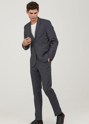 Классический мужской выпускной свадебный темно серый костюм h&m