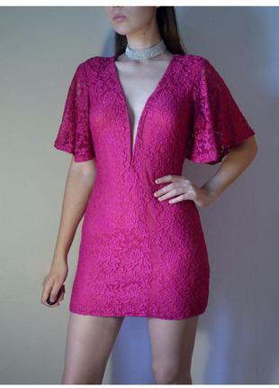 Кружевное розовое платье кимоно ,фирма rare london