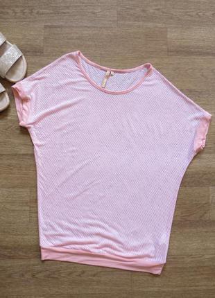 Летняя розовая  полупрозрачная футболка в полоску