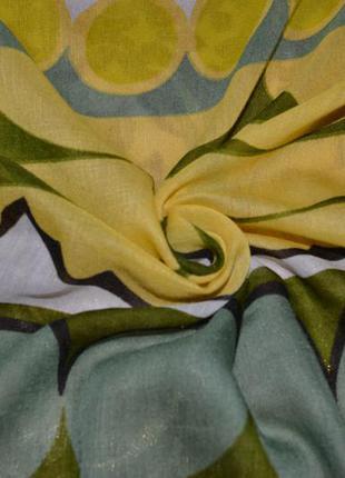 Красивый большой летний шарф палантин парео mavi геометрия оливка зеленый 190*105 см