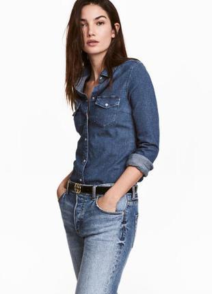 Джинсовая котоновая рубашка от hema p.m/женская рубашка из денима