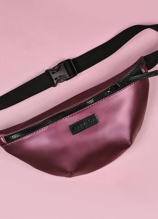 "Женская бордовая сумка бананка на пояс, поясная сумка ""bg"" chery"