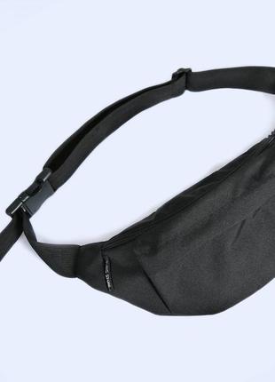 Черная большая поясная сумка (бананка на пояс из ткани оксфорд)