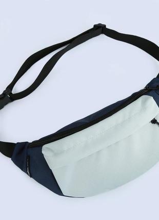 Сине-серая большая поясная сумка (мужская бананка на пояс из ткани оксфорд)