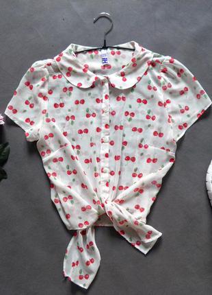 Блуза топ с завязками олдскул oldschool топ с вишнями holland топ укороченная футболка
