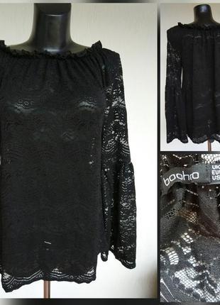 Фирменная стильная качественная ажурная стрейчевая блуза.