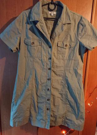 Платье - рубашка цвета хаки