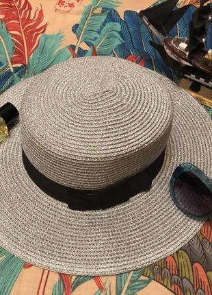 Широкополая летняя шляпа, канотье, летняя шляпа, серебряная шляпа