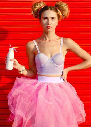 Ярко-розовая фатиновая юбка terranova