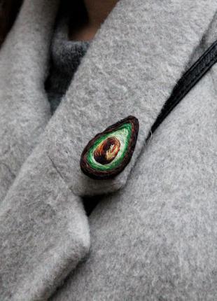 """Брошь / значок на одежду """"авокадо"""" вышивка"""