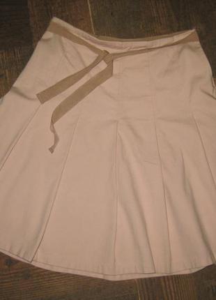 Стильная пудровая розовая котоновая фактурная юбка клёш gap распродажа