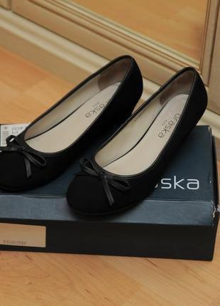 Черные замшевые балетки braska