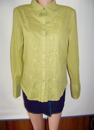 Оливковая хлопковая блузка с вышивкой и пайетками h&m