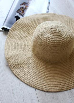 Шикарная шляпа с широкими полями форма летняя желтая соломяная бумажная