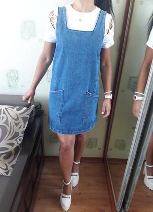 Крутющий джинсовый сарафан платье юбка  комбинезон вольного кроя от  topshop