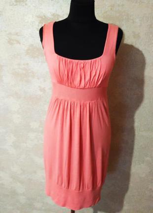 Платье трикотажное нежно-розового цвета, размер 36-38
