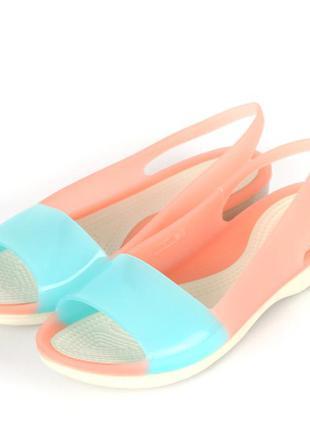 Босоножки мыльницы сандалии кроксы crocs colorblock  melon/pool flat