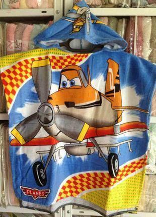 Детское пляжное полотенце -пончо с капюшоном 100%хлопок турция