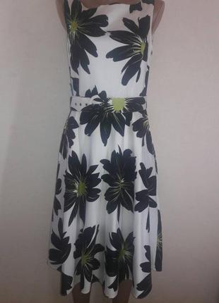 Цветочное платье миди из натуральной ткани
