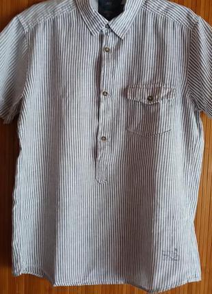 Льняная рубашка/сорочка-анорак h&m  р м 175+багато брендових речей за доступними цінами