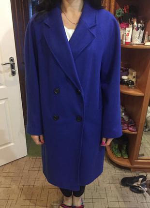 Супер пальто глубокого синего цвета, кашемир