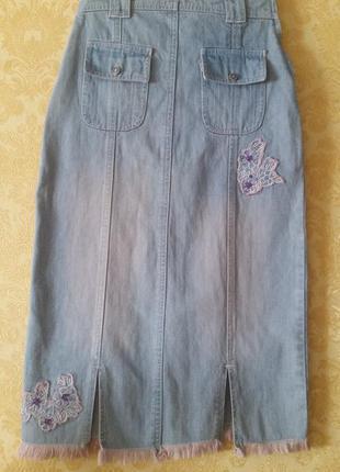 Трендовая джинсовая миди юбка