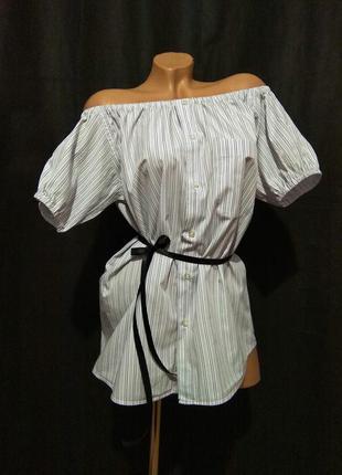 Рубашка блуза пляжная туника блузка со спущенными открытыми плечами m l 46 48 полоска