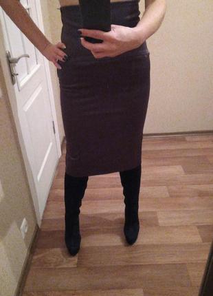 Юбка фиолетовая с завышенной талией