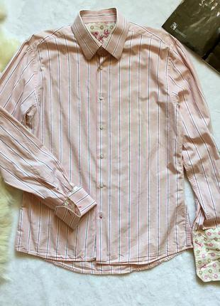 Стильная мужская рубашка с полоску с длинным рукавом river island р-р м