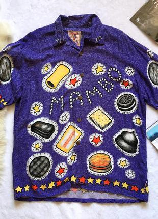 Мега крутая винтажная рубашка оверсайз космический арт mambo р-р m