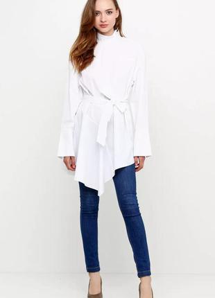 Белая блуза - туника интересного кроя от h&m с пояском. 100% хлопок!
